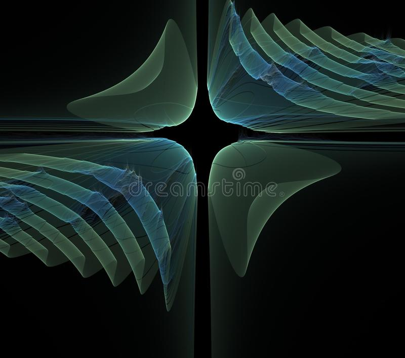 例证荧光的分数维未来派几何五颜六色 库存例证