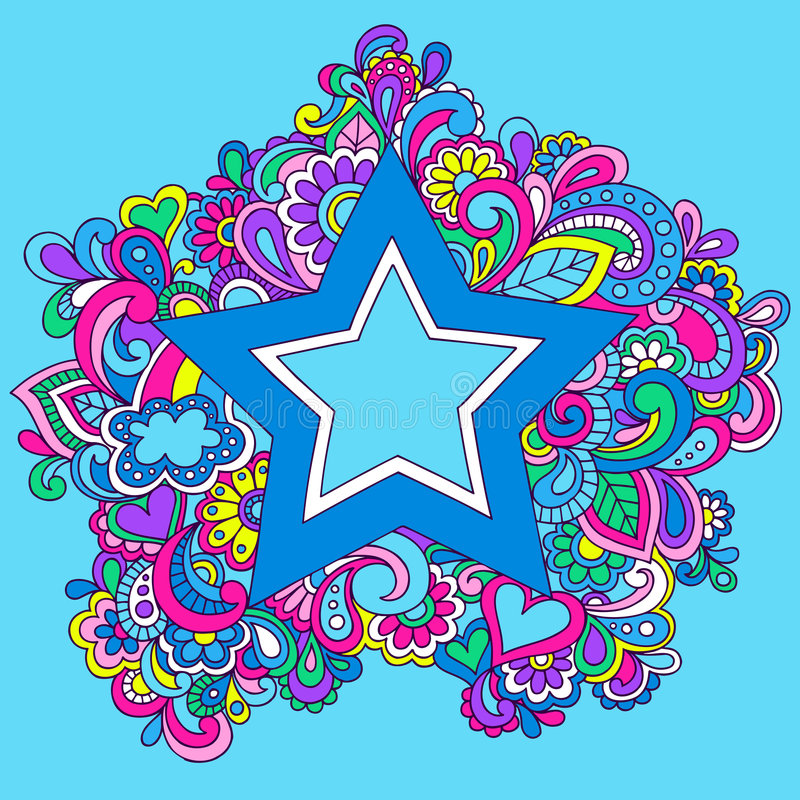 例证荧光的彩虹星形向量 向量例证