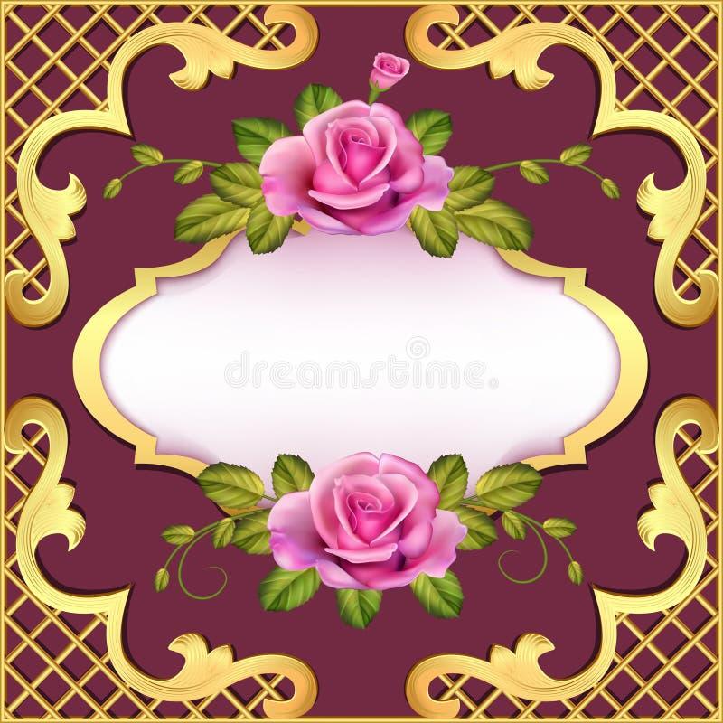 例证葡萄酒与玫瑰的框架背景 库存例证