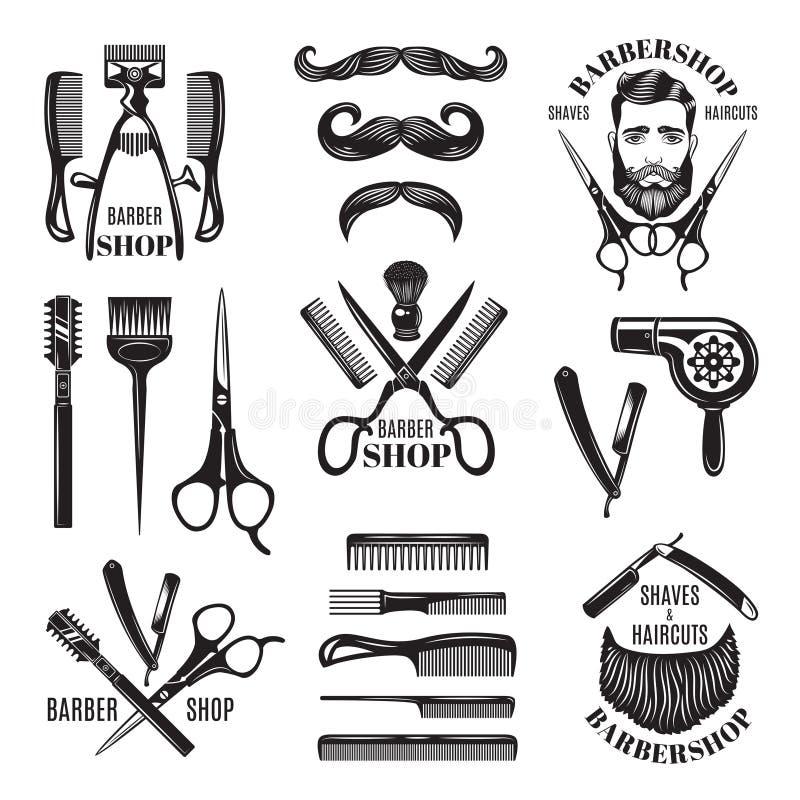 例证被设置不同的理发店工具 徽章和标签的标志 皇族释放例证