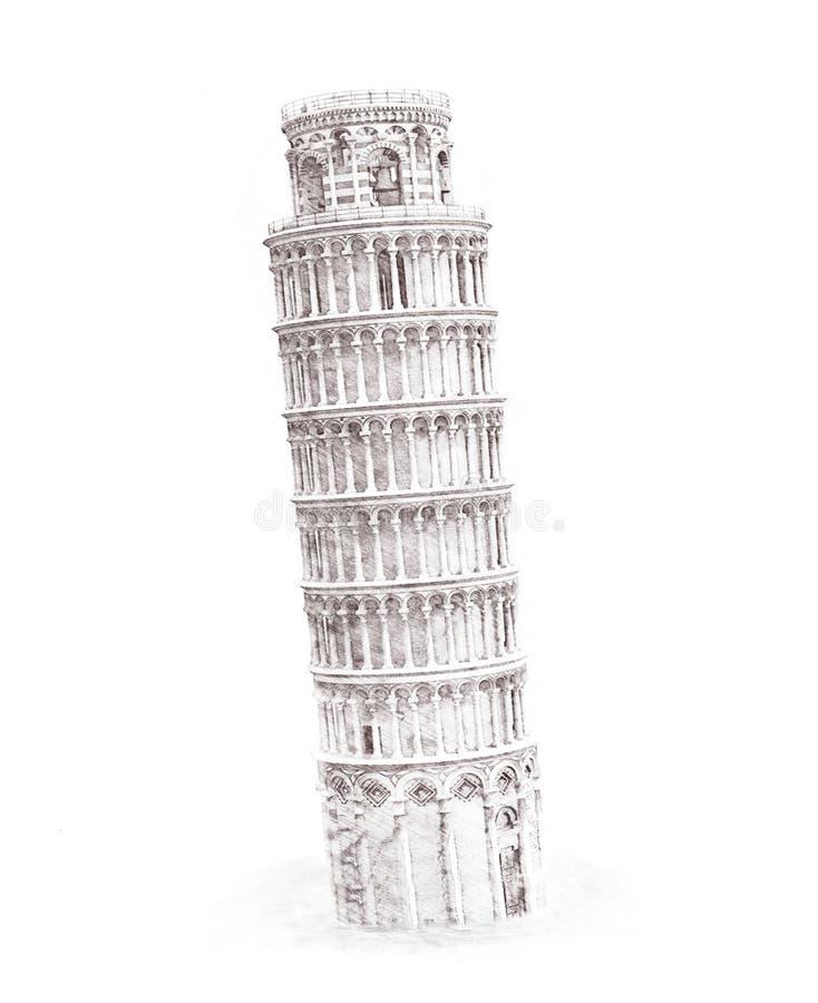 例证速写结构斜塔的图画铅笔 向量例证