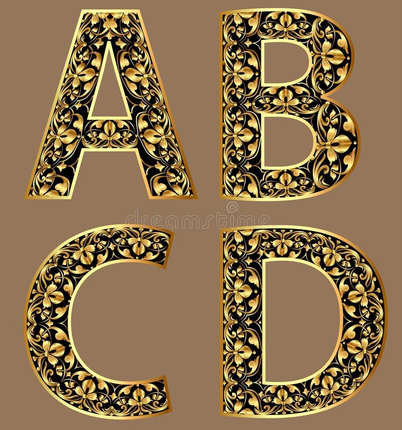 例证金葡萄酒装饰字体字符 皇族释放例证