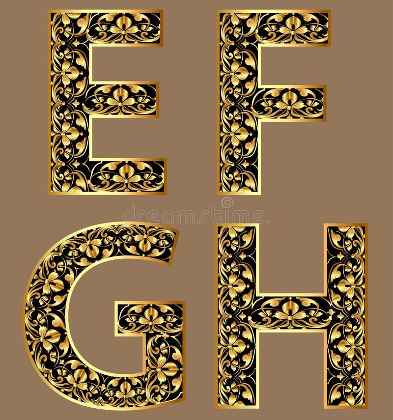 例证金葡萄酒装饰字体字符 向量例证