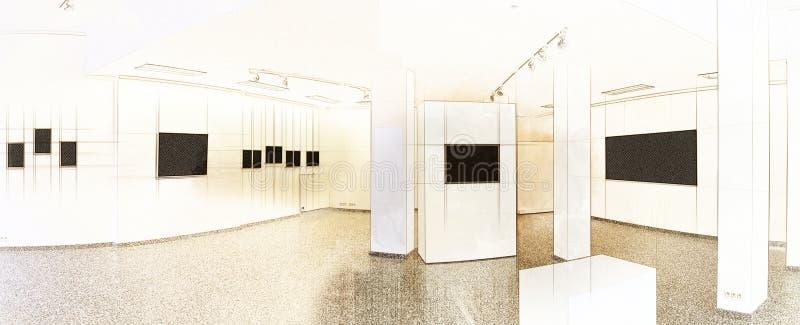 例证陈列美术画廊的艺术剪影 向量例证