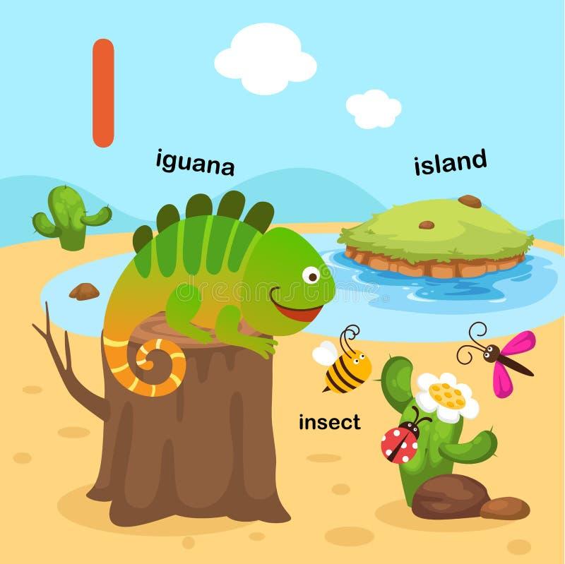 例证隔绝了字母表信件我鬣鳞蜥,昆虫,海岛 库存例证