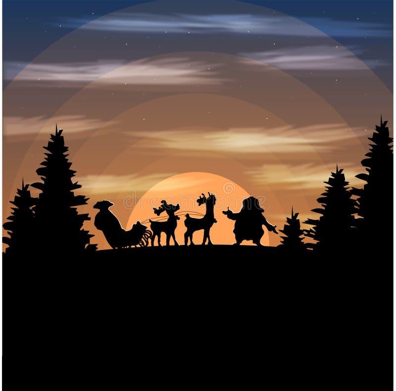 例证风景山圣诞老人丢失了 向量例证