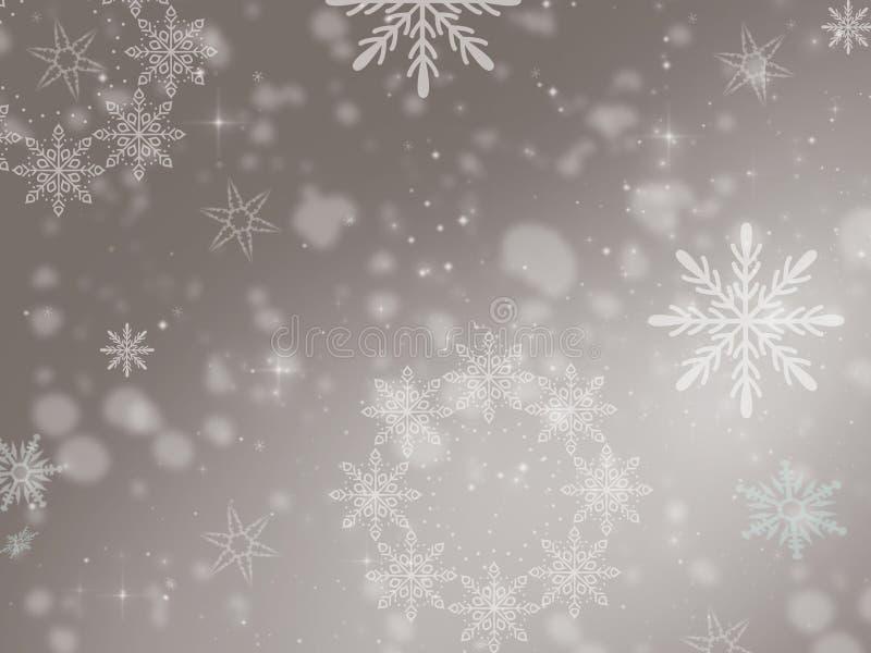 例证,在灰色背景的白色雪花,发光的斑点 库存例证
