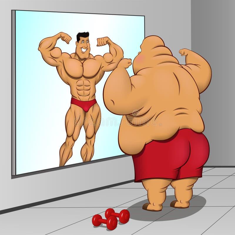 插画 包括有 超重, 肥胖病, 镜子, 大肚子, 希望, 目标, 下巴图片