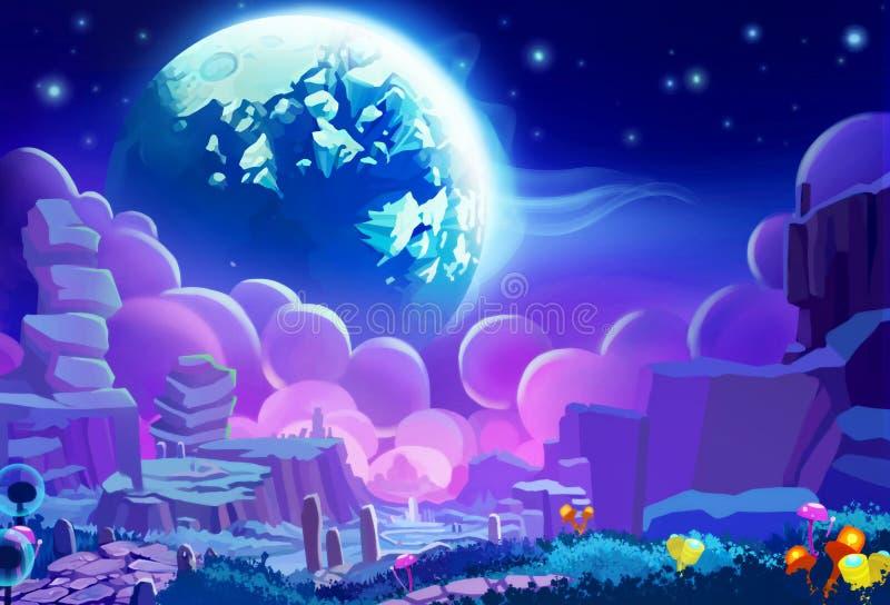 例证:另一个行星的环境 现实动画片样式 向量例证