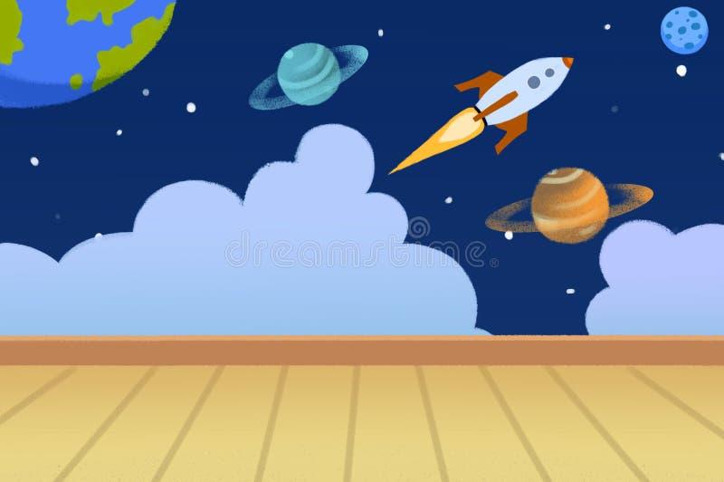 例证:有在墙壁上绘的行星的孩子室 库存例证