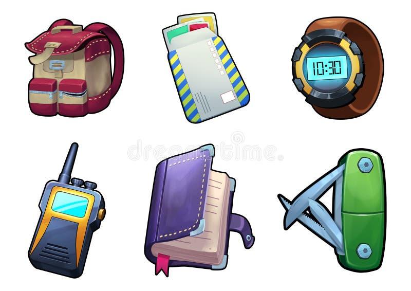 例证:远足的齿轮-开放状态 野外携带袋子 信封 手表 携带无线电话 皮革隐蔽的日志 剪报查出刀子路径公共白色 向量例证