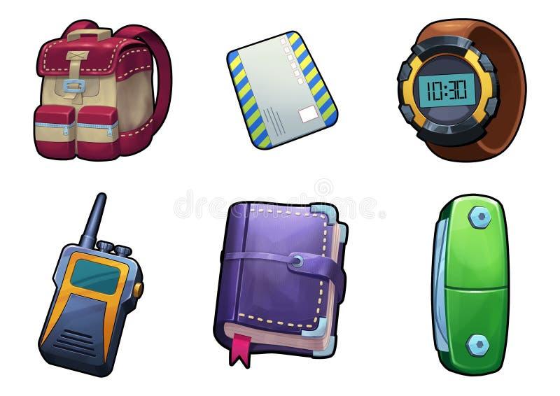例证:远足的齿轮-正常状态 野外携带袋子 信封 手表 携带无线电话 皮革隐蔽的日志 剪报查出刀子路径公共白色 向量例证