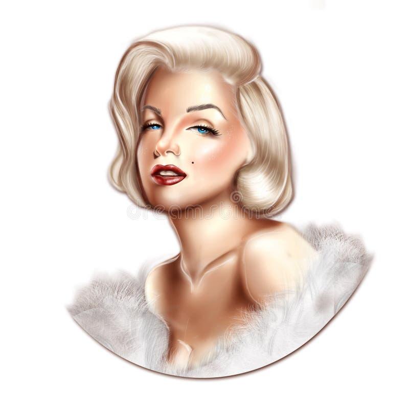 例证-女演员玛丽莲・梦露手拉的画象  免版税库存图片