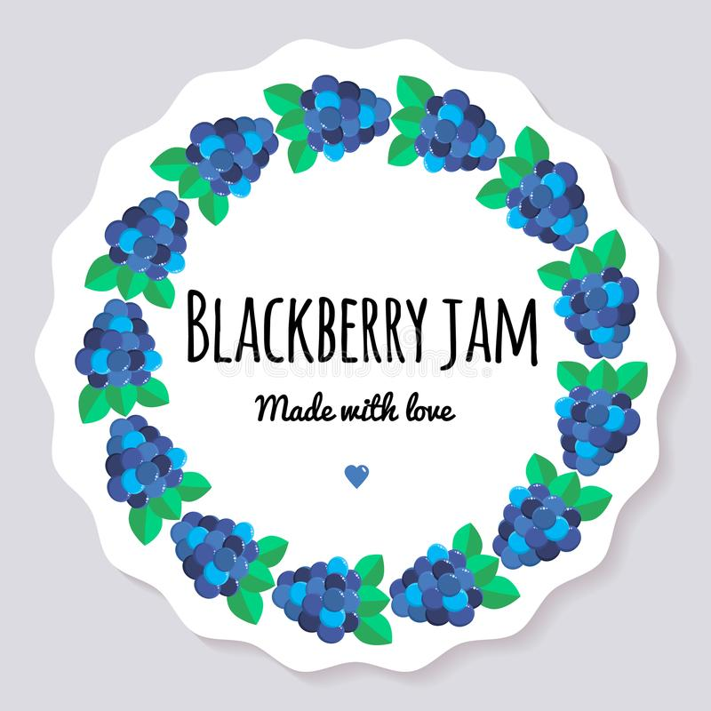 例证 莓果果酱的标签 莓果圆的框架  黑鹂 向量例证