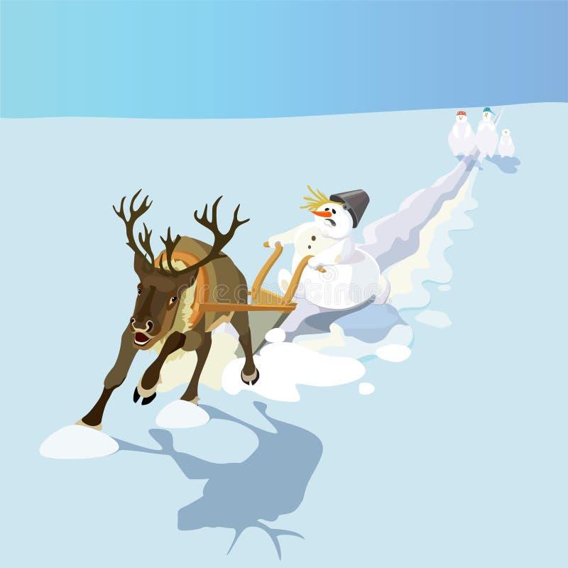 例证 雪人决定犁在鹿的雪 向量例证