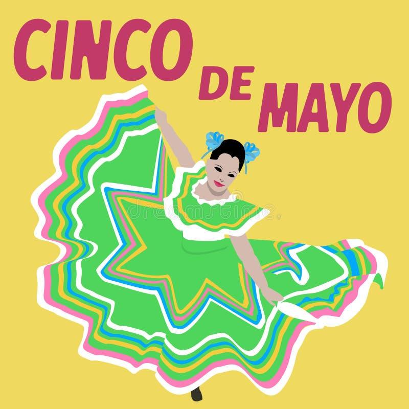 例证Cinco De马约角节日 舞蹈 墨西哥海报-传染媒介 库存图片