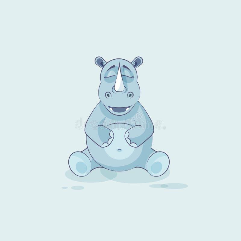 例证emoji字符动画片犀牛愉快和满足的犀牛贴纸意思号 库存例证