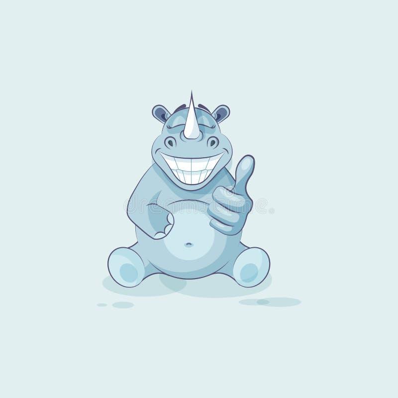 例证emoji字符动画片犀牛批准与赞许贴纸意思号 库存例证