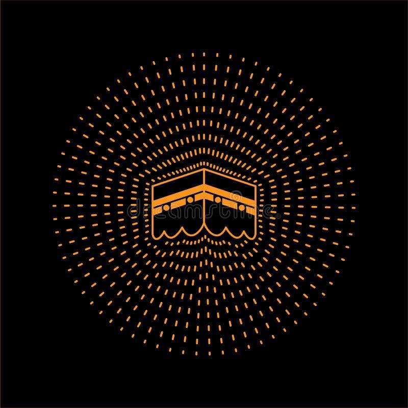 例证kaaba线艺术设计在沙特阿拉伯, 向量例证