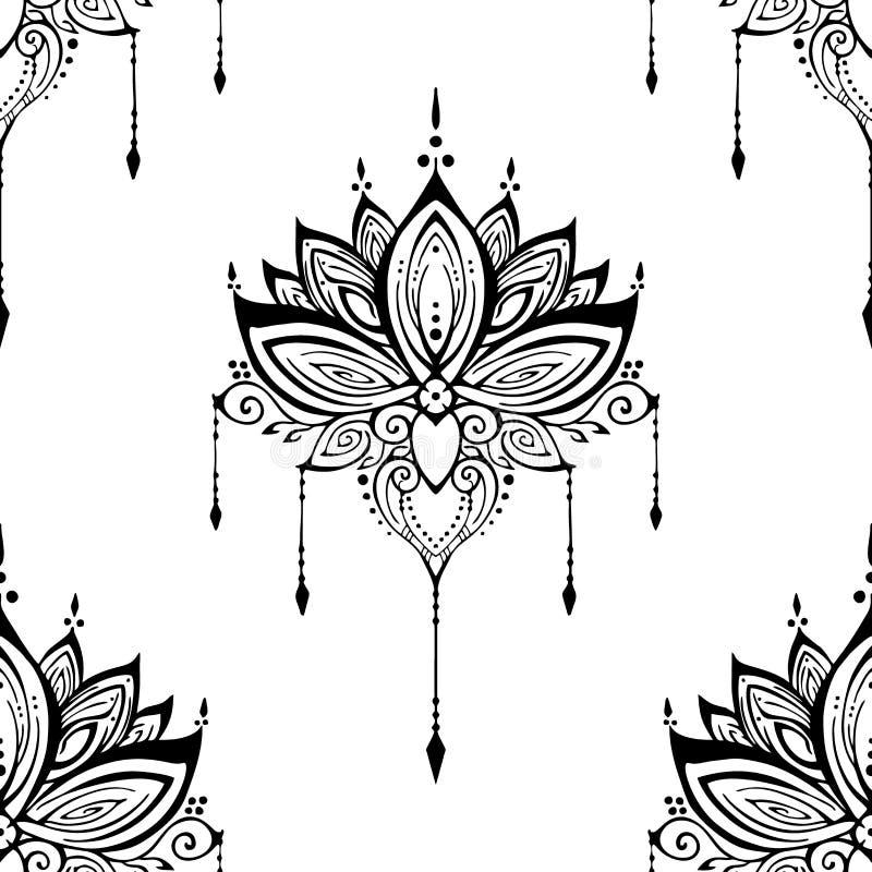 例证mehendi莲花无刺指甲花装饰种族禅宗缠结主题纹身花刺无缝的样式 皇族释放例证