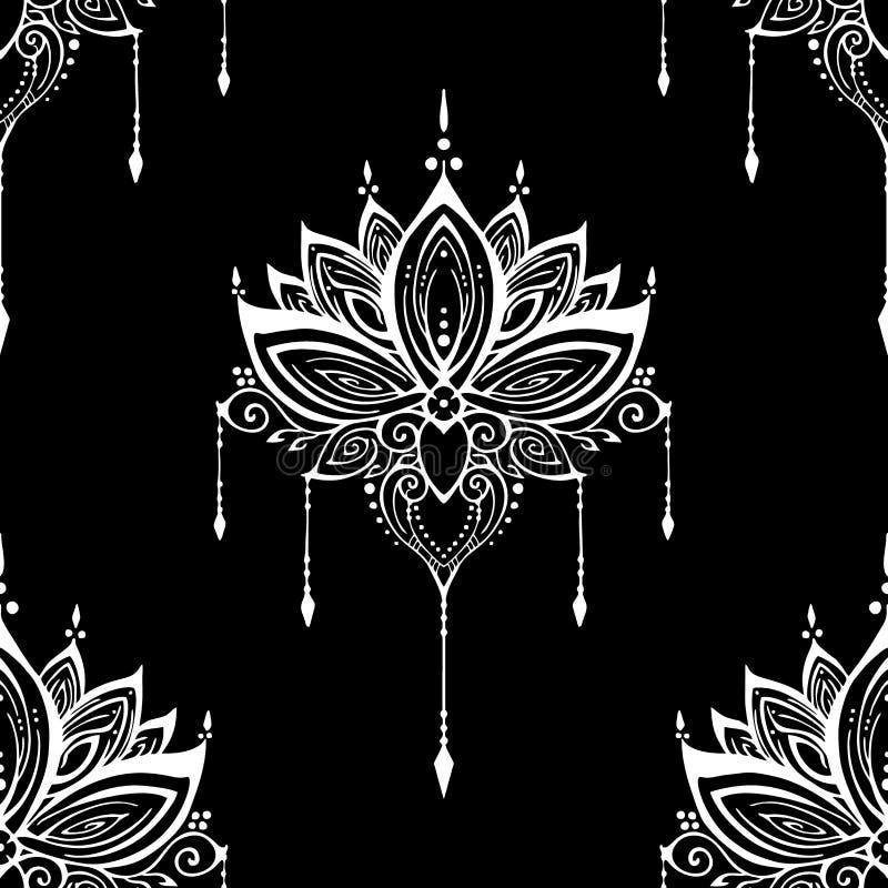 例证mehendi莲花无刺指甲花装饰种族禅宗缠结主题纹身花刺无缝的样式 向量例证