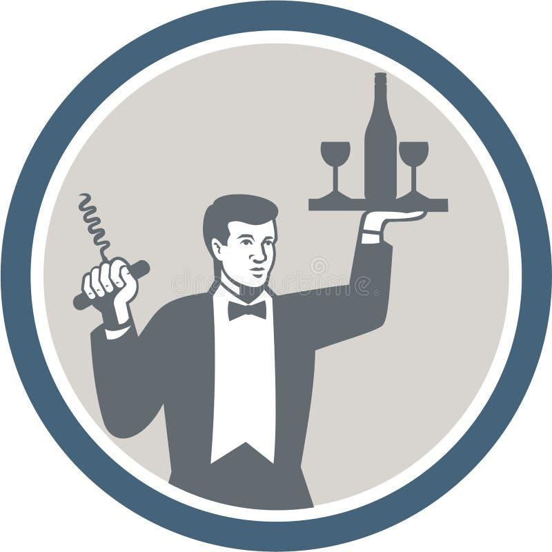 侍者服务在减速火箭的盛肉盘的酒瓶 库存例证