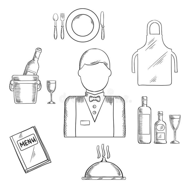 侍者行业和餐馆catlery剪影 皇族释放例证