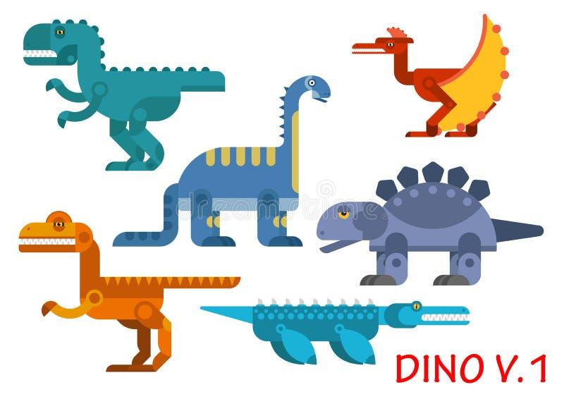 侏罗世史前恐龙  向量例证