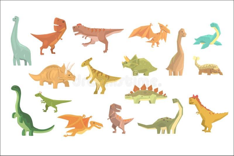 侏罗纪恐龙设置了史前绝种巨型爬行动物动画片现实动物 向量例证