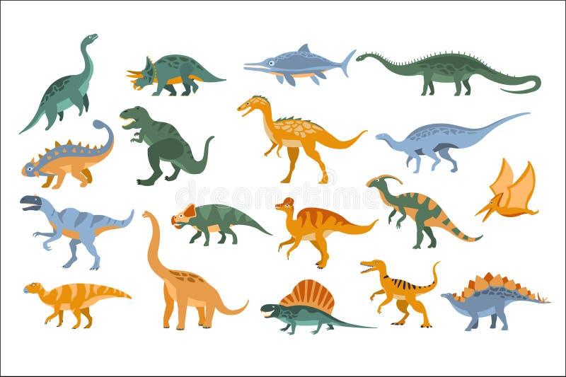 侏罗纪恐龙设置了在白色背景的平的被简化的动画片样式明亮的颜色传染媒介例证 库存例证