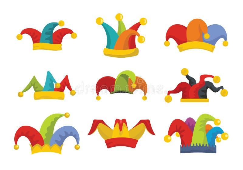 供人潮笑者傻瓜帽子象被设置的平的样式 皇族释放例证