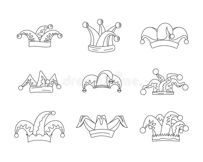 供人潮笑者傻瓜帽子象设置,概述样式 皇族释放例证