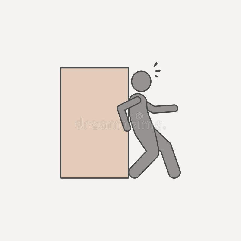 供以人员与后面推挤箱子2种族分界线象 简单的色素例证 有后面推挤箱子概述标志设计的人 向量例证