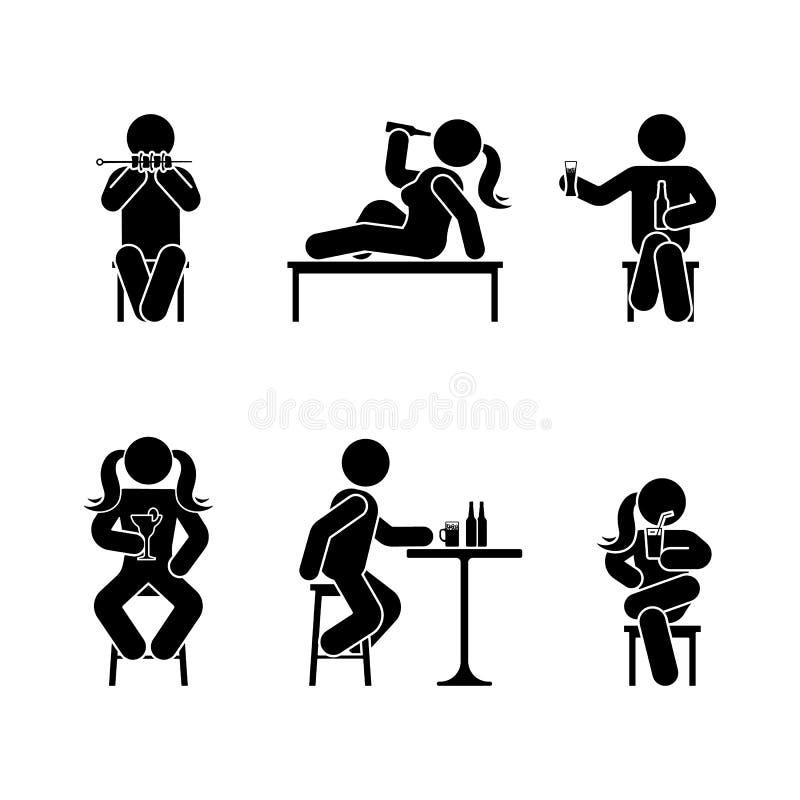 供以人员人各种各样的开会,吃和喝位置 姿势棍子形象 传染媒介供以座位的人象标志标志图表 皇族释放例证