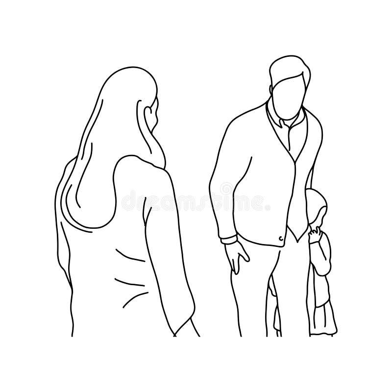 供以人员从坏妇女传染媒介例证bl的保护的小女孩 向量例证