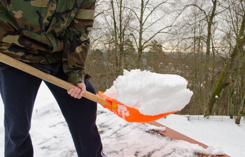 供以人员伪装铁锹工具干净的雪屋顶冬天 免版税库存照片
