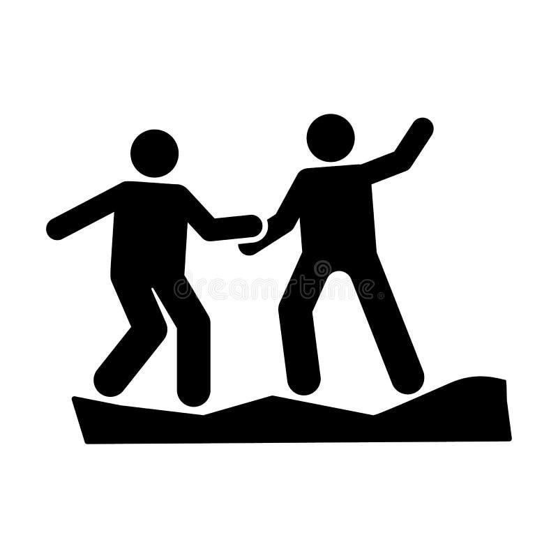 供以人员冒险帮助山攀登象 图表冒险例证的元素 皇族释放例证