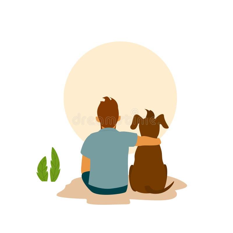 供以人员和他的最好的朋友狗拥抱拥抱,后侧方视图 皇族释放例证