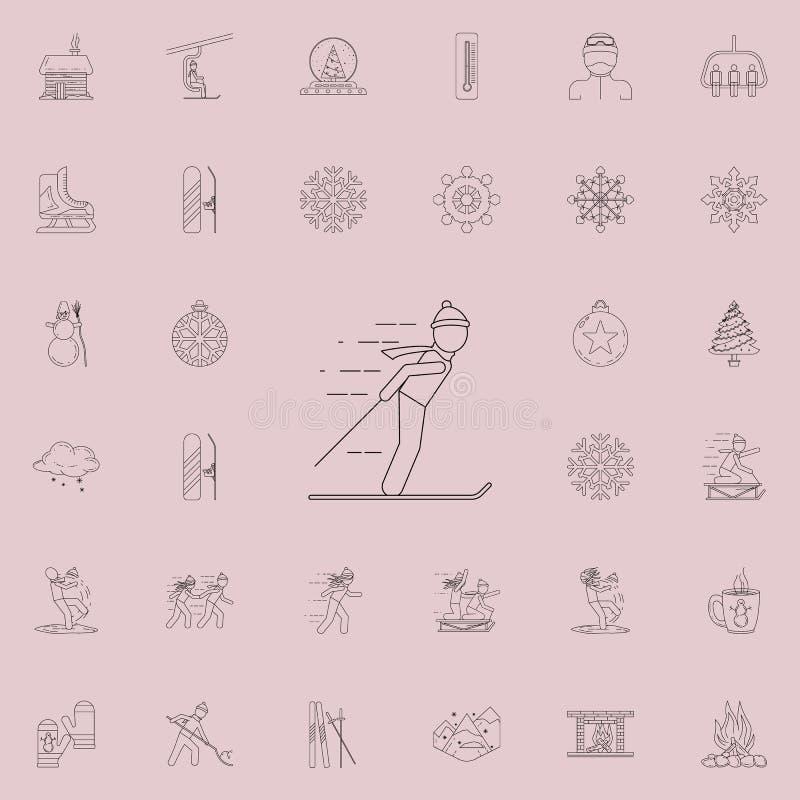供以人员在滑雪象 详细的套冬天象 优质质量图形设计标志 其中一个网站的汇集象,网 皇族释放例证