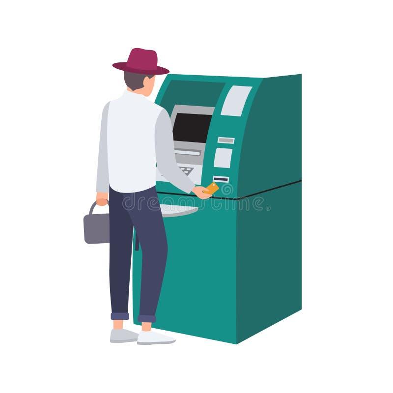 供以人员在ATM旁边的身分和插入信用卡在槽孔 撤出金钱的人隔绝在白色背景 现金 库存例证