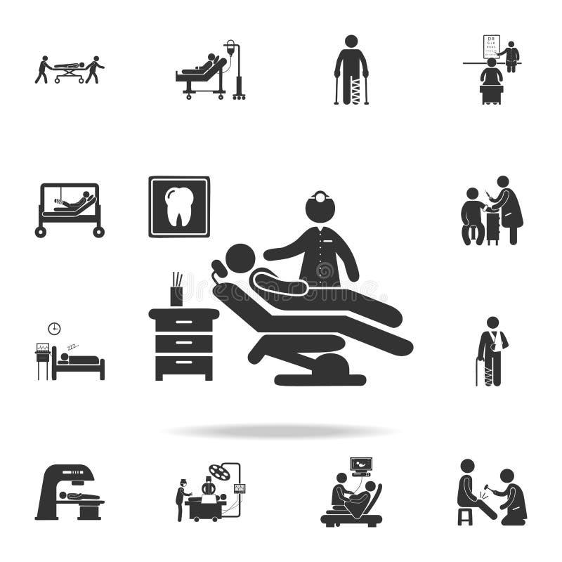 供以人员坐在牙医椅子例证象的剪影 详细的套医学元素例证 优质质量图表 皇族释放例证