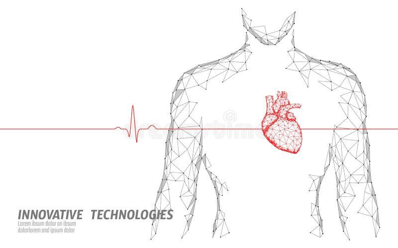 供以人员多剪影健康心跳3d医学的模型低 三角被联络的小点焕发点网上医生 脉冲 皇族释放例证