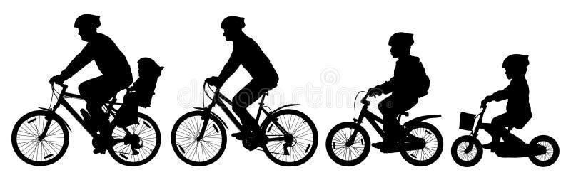 供以人员妇女和自行车骑马的孩子男孩和女孩在自行车,骑自行车者集合,剪影传染媒介 向量例证