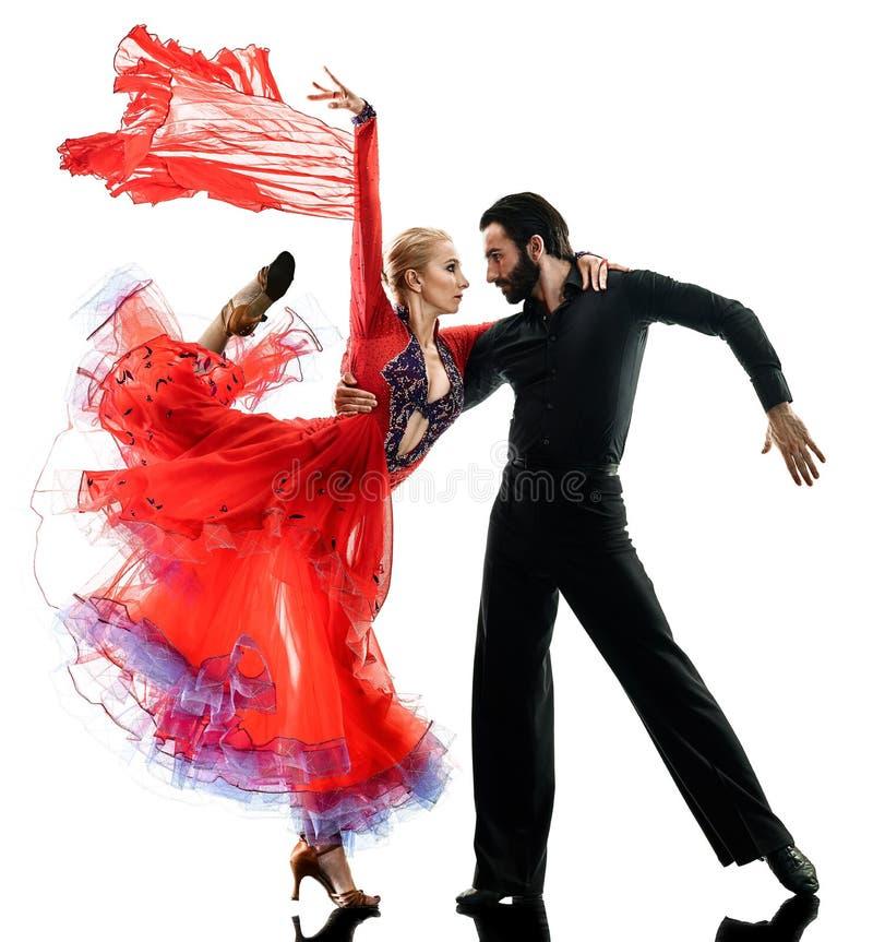 供以人员妇女夫妇舞厅探戈辣调味汁舞蹈家跳舞剪影 免版税库存照片