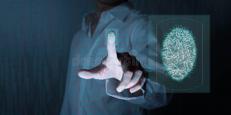 供以人员工作在下一代的technolgoy,使用指纹 免版税库存图片