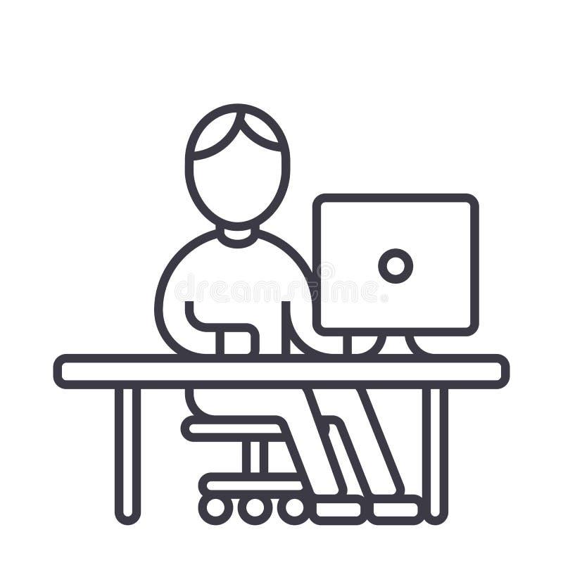 供以人员工作在计算机在桌传染媒介线象,标志,在背景,编辑可能的冲程的例证 皇族释放例证