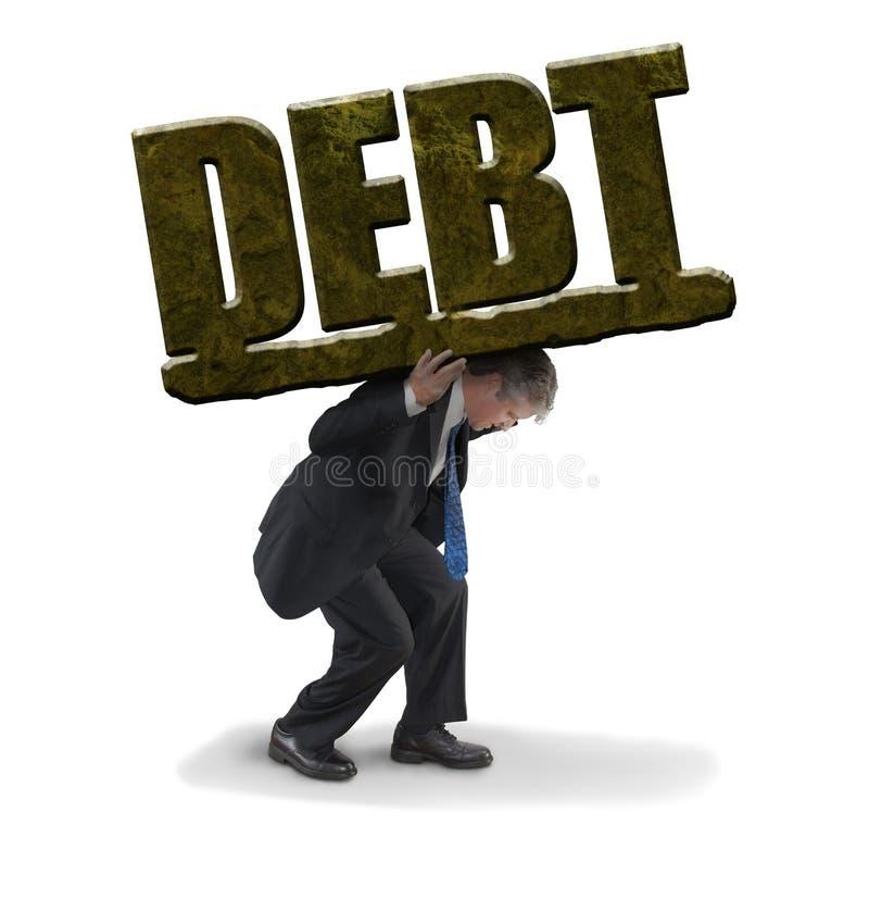 供以人员承担代表财政麻烦的巨大的石债务的负担的奋斗 图库摄影