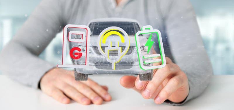 供以人员拿着电smartcar概念3d翻译 免版税库存照片