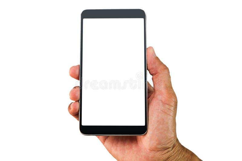 供以人员拿着白色屏幕手机的` s手被隔绝在白色背景 免版税库存照片