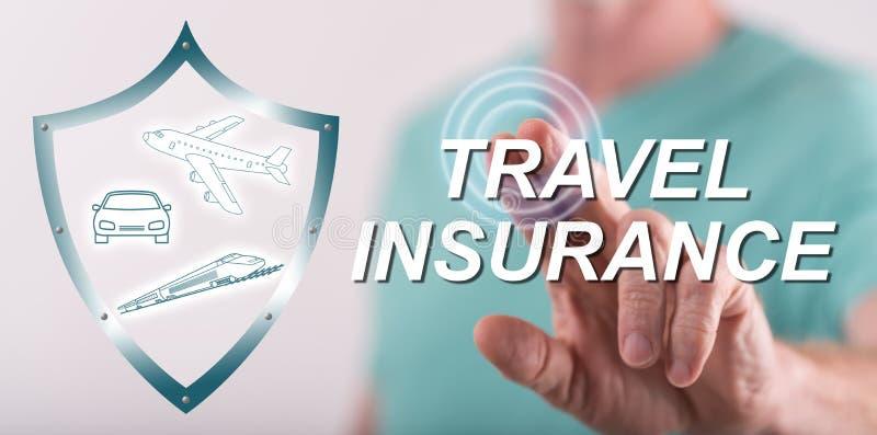 供以人员接触在触摸屏上的一个旅行保险概念 免版税库存图片